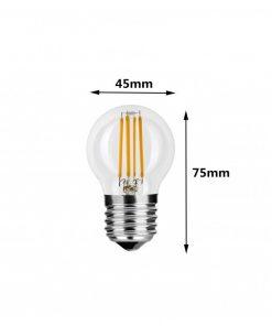 Medida de la bombilla de LED filamento G45 E27