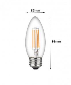 Medida de la Bombilla de LED filamento vela C37 E27