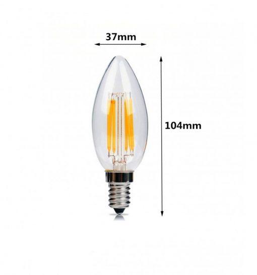 Medidas de Bombilla LED vela de filamento E14