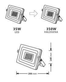 medidas de foco proyector LED exterior 35W