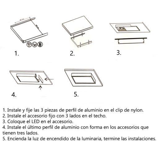 Instrucciones para colocar marco para panel de LED de 60x60