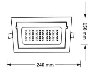 Medidas del downlight LED cuadrado orientable
