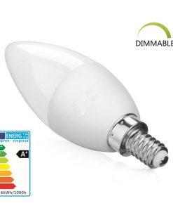 medidas de la bombilla de LED vela E14 blanco cálido