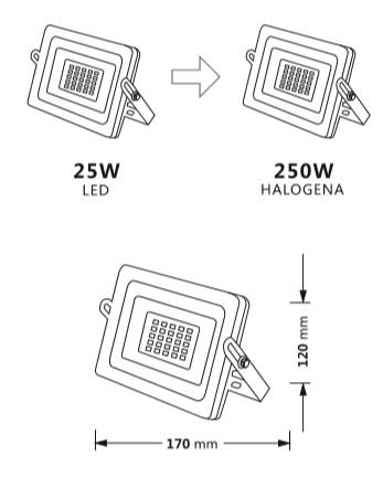 Medidas del proyector de exterior LED de 25W osram