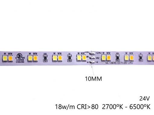 características de la Tira de LED dual temperatura de color fria y cálida