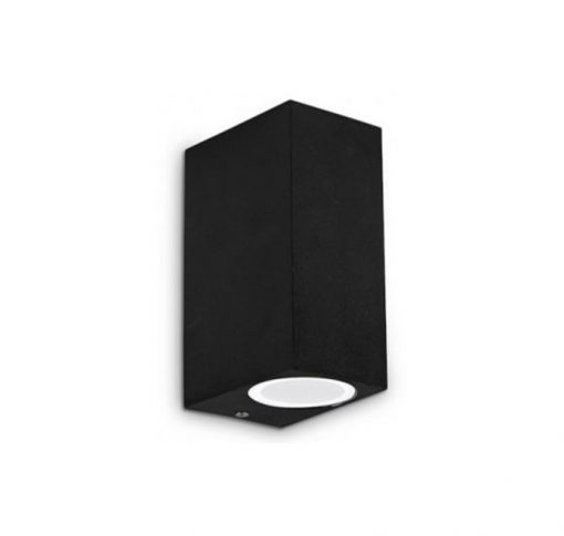 aplique LED de exterior cuadrado en negro vista perfil