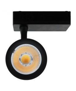 proyector LED interior para carril monofásico negro vista frontal